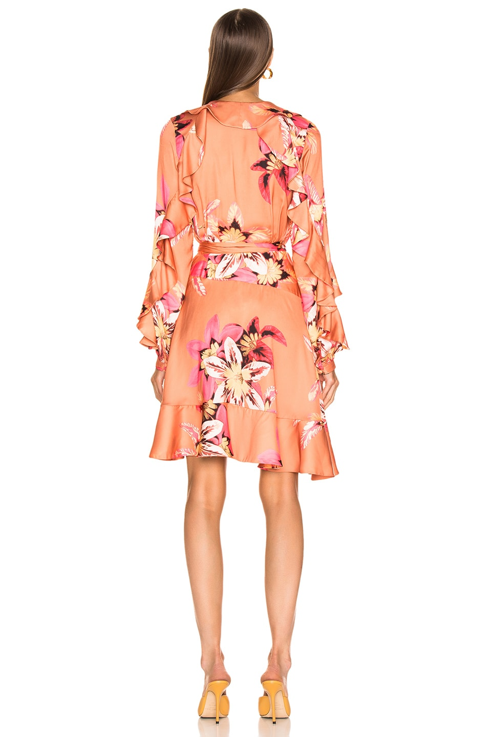 Image 4 of PatBo Floral Carmen Mini Wrap Dress in Nude