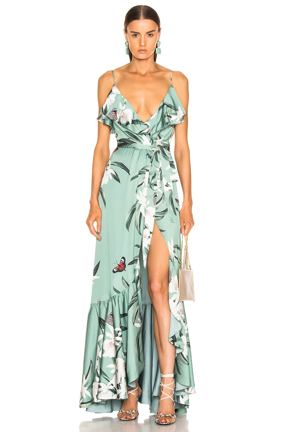 Image 1 of PatBo Orchid Print Maxi Wrap Dress in Jade