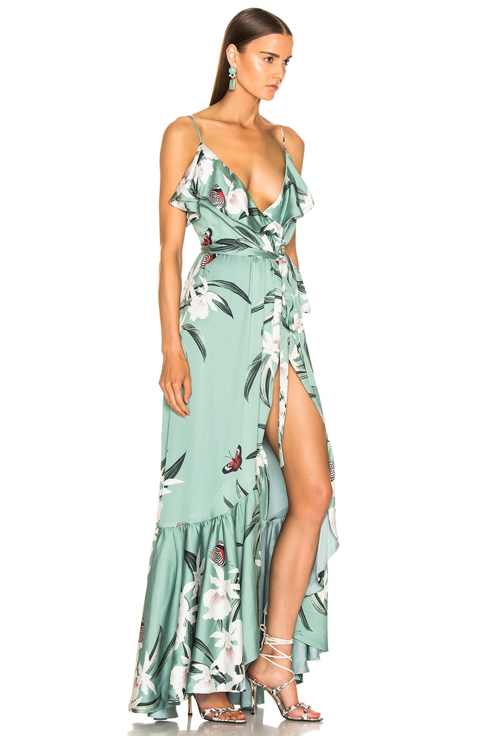 Image 2 of PatBo Orchid Print Maxi Wrap Dress in Jade