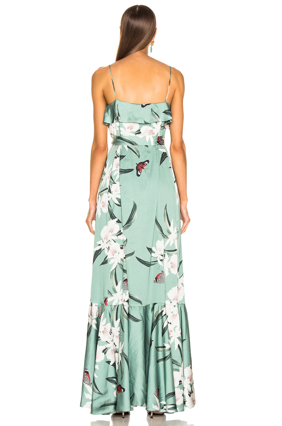 Image 3 of PatBo Orchid Print Maxi Wrap Dress in Jade