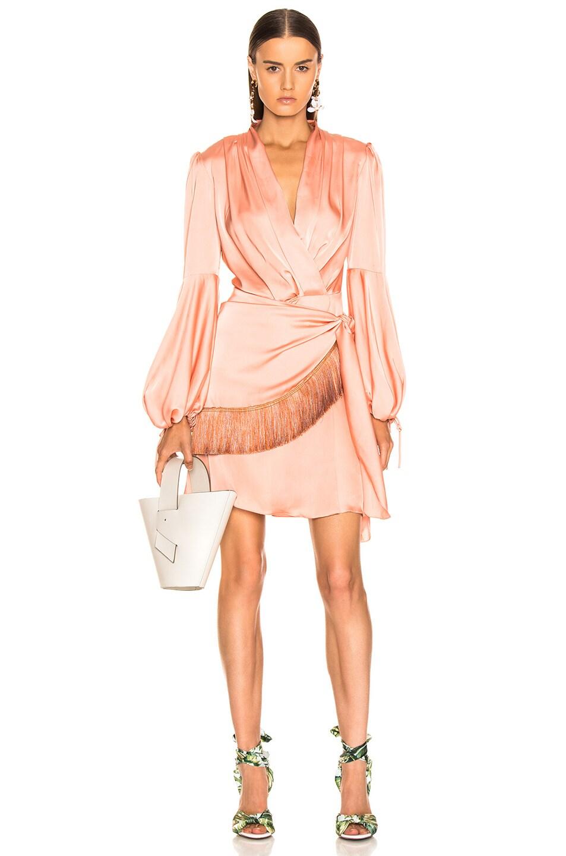 Image 1 of PatBo Fringe Trim Mini Wrap Dress in Bright Peach