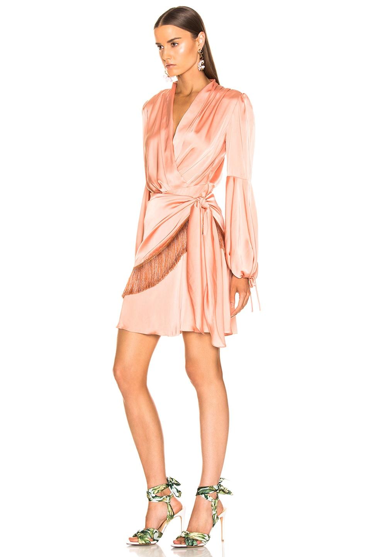 Image 3 of PatBo Fringe Trim Mini Wrap Dress in Bright Peach