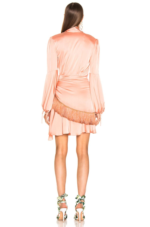 Image 4 of PatBo Fringe Trim Mini Wrap Dress in Bright Peach