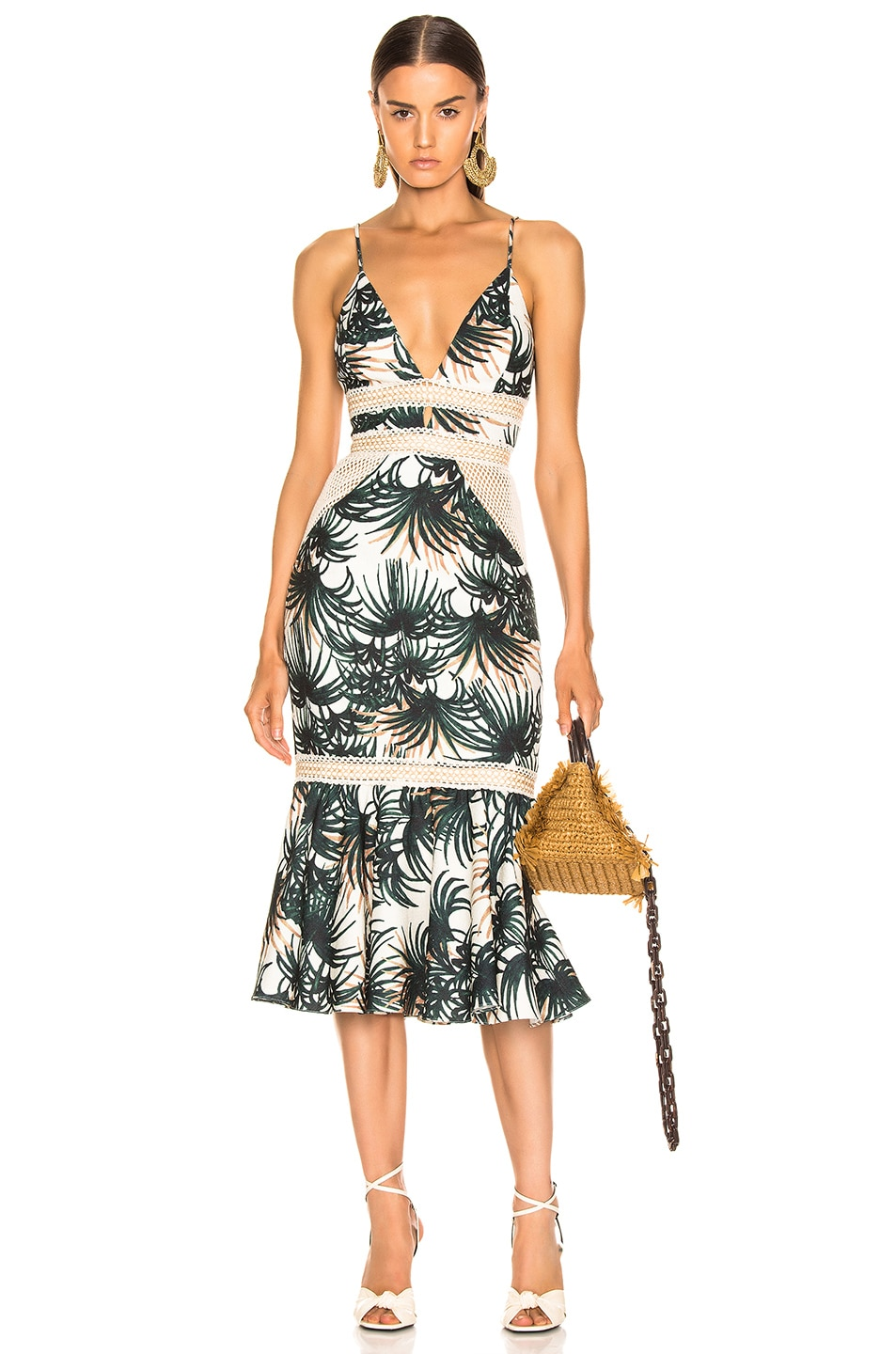 Image 1 of PatBO Palm Print Fitted Midi Dress in Ivory & Green