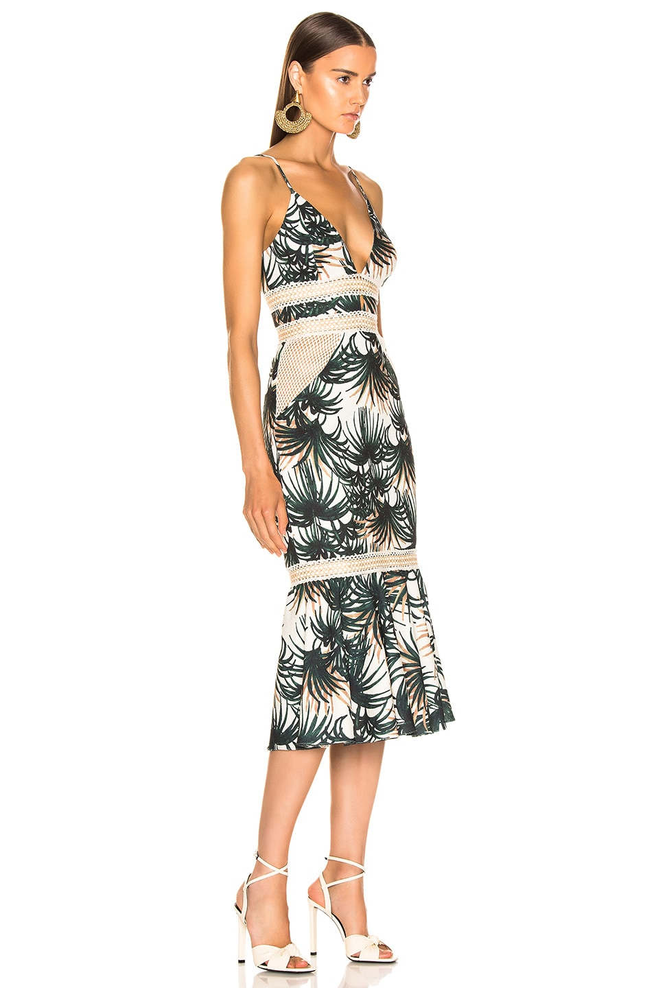Image 2 of PatBO Palm Print Fitted Midi Dress in Ivory & Green