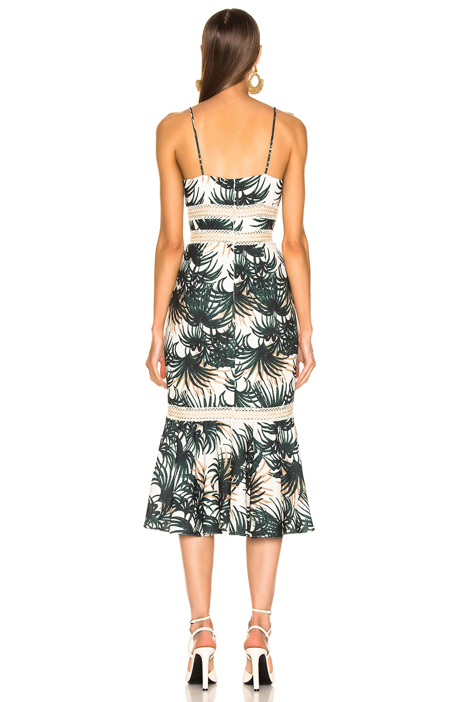 Image 3 of PatBo Palm Print Fitted Midi Dress in Ivory & Green