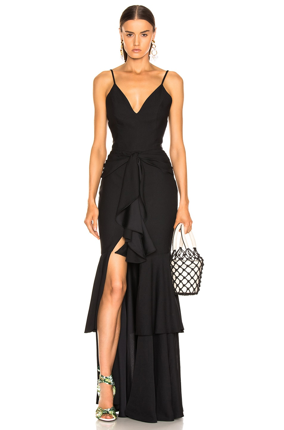 Image 1 of PatBo Bo Ruffle Maxi Dress in Black