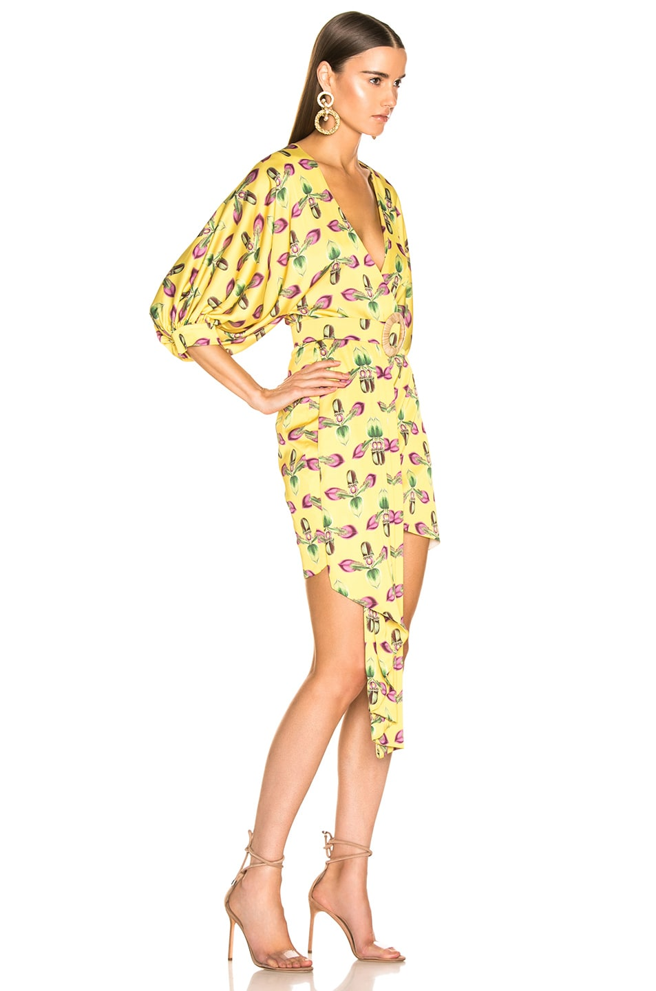 Image 2 of PatBO Asymmetrical Belted Mini Dress in Bright Yellow