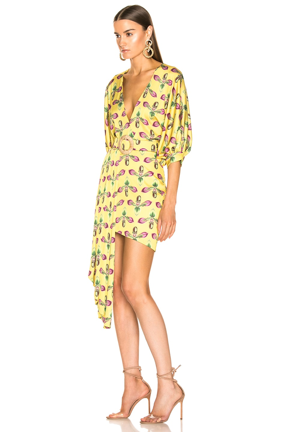 Image 3 of PatBO Asymmetrical Belted Mini Dress in Bright Yellow