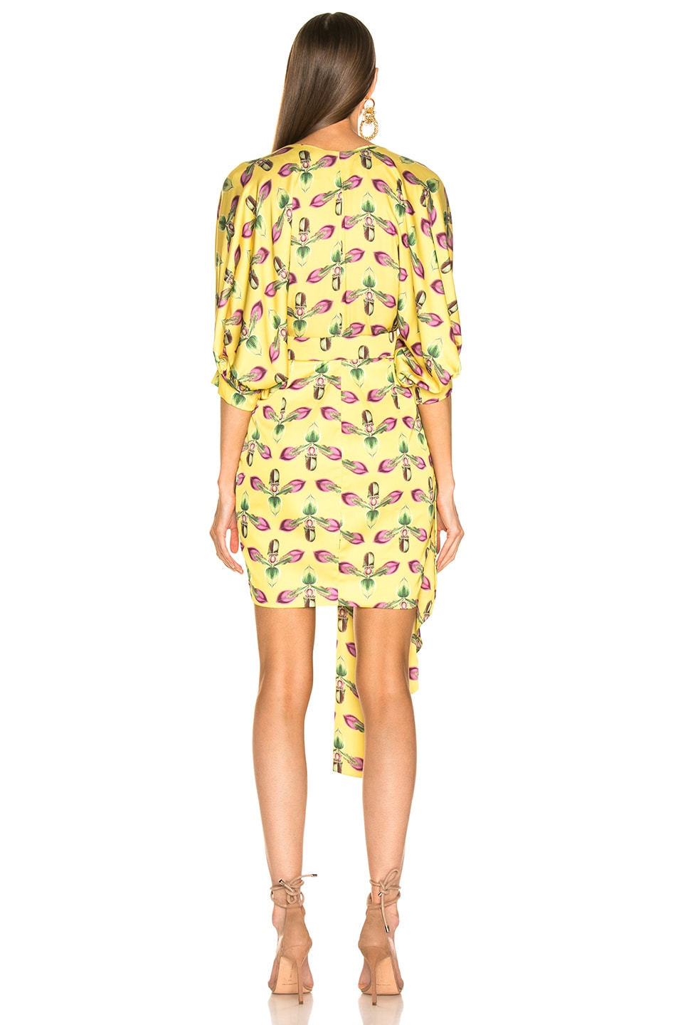 Image 4 of PatBO Asymmetrical Belted Mini Dress in Bright Yellow