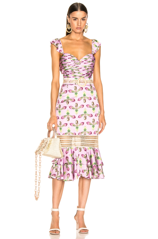Image 1 of PatBO Jute Trim Cutout Midi Dress in Bright Lilac