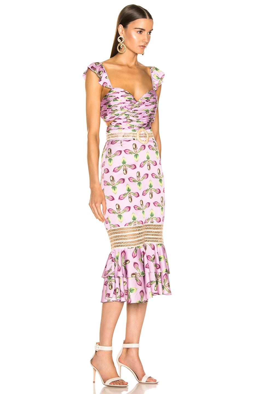 Image 2 of PatBO Jute Trim Cutout Midi Dress in Bright Lilac