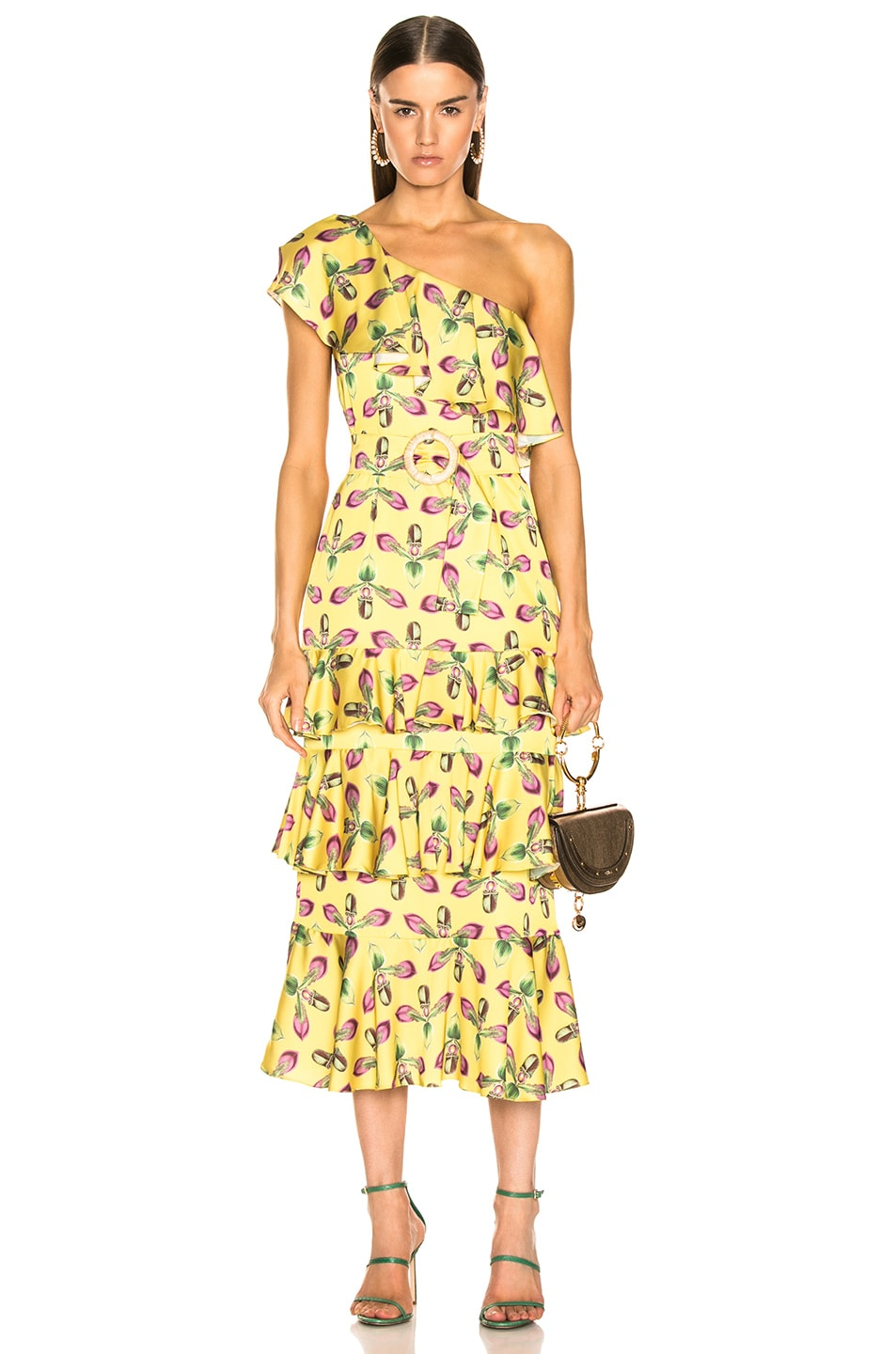 Image 1 of PatBO One Shoulder Tiered Ruffle Midi Dress in Bright Yellow