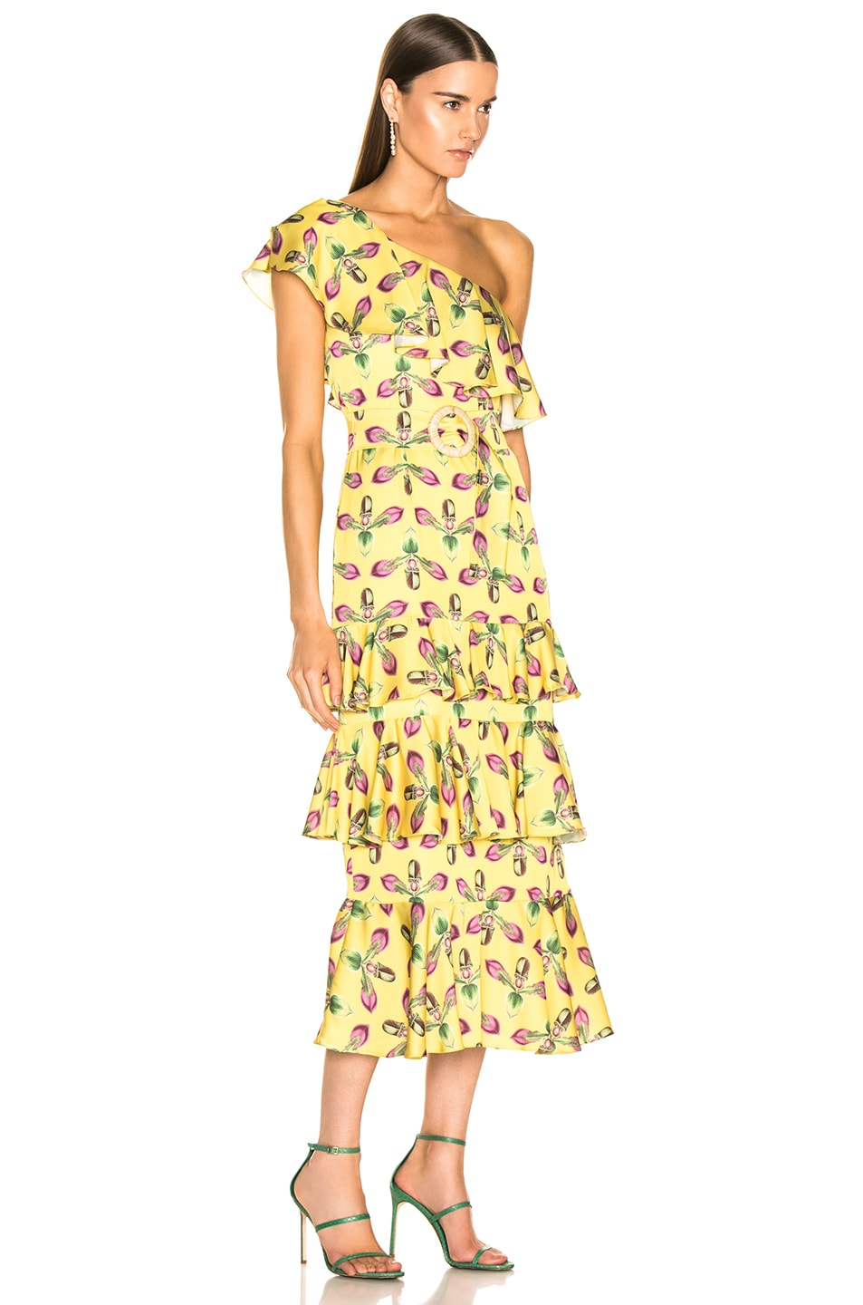 Image 2 of PatBO One Shoulder Tiered Ruffle Midi Dress in Bright Yellow