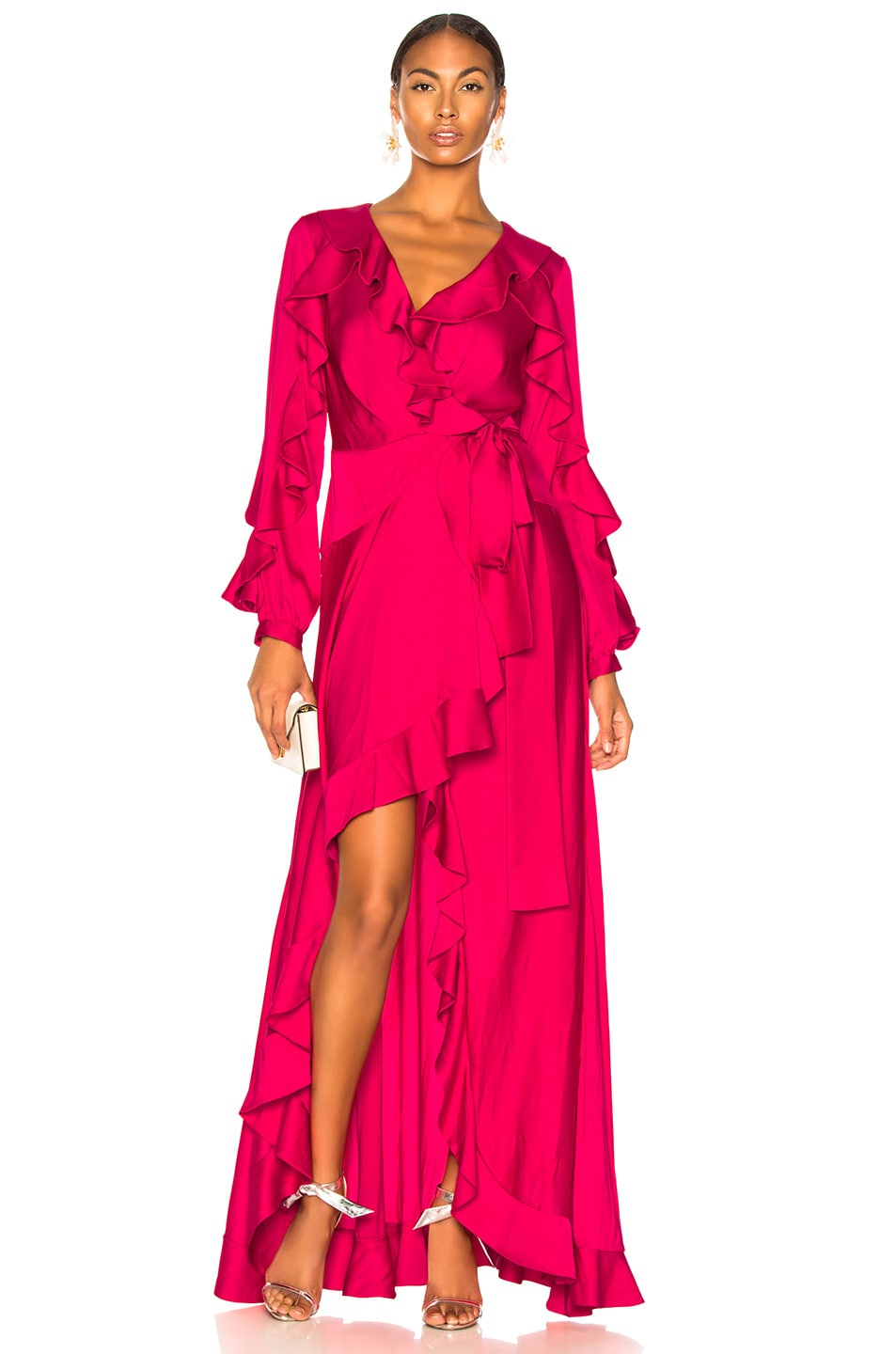 Image 1 of PatBO Ruffle Sleeve Maxi Wrap Dress in Hot Pink