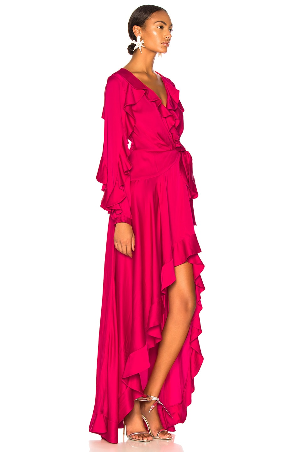 Image 2 of PatBO Ruffle Sleeve Maxi Wrap Dress in Hot Pink