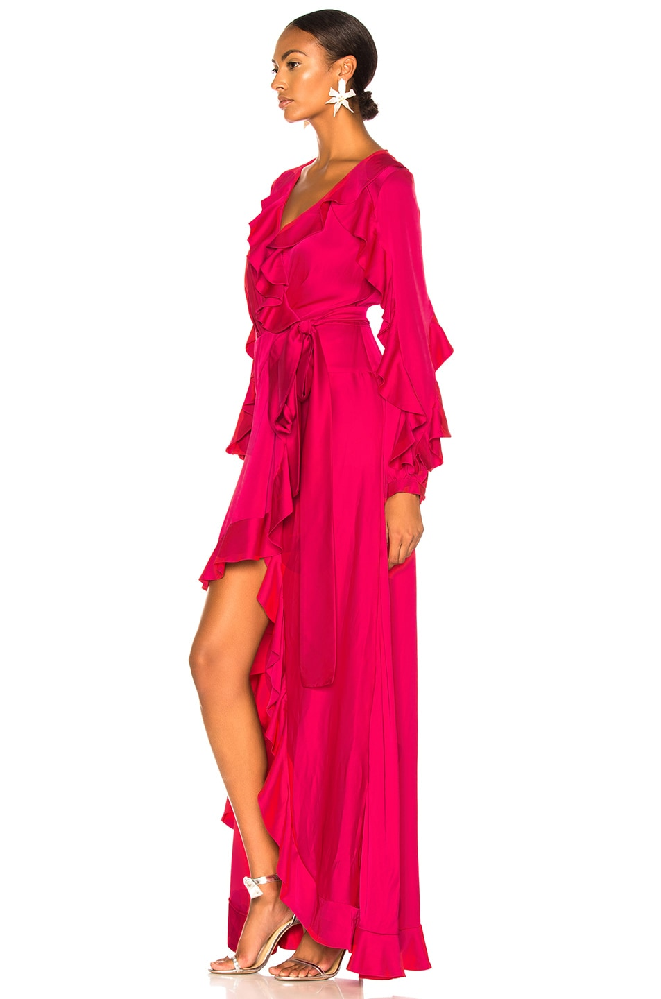 Image 3 of PatBO Ruffle Sleeve Maxi Wrap Dress in Hot Pink