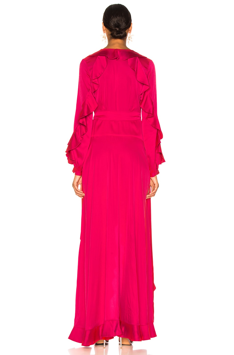 Image 4 of PatBO Ruffle Sleeve Maxi Wrap Dress in Hot Pink