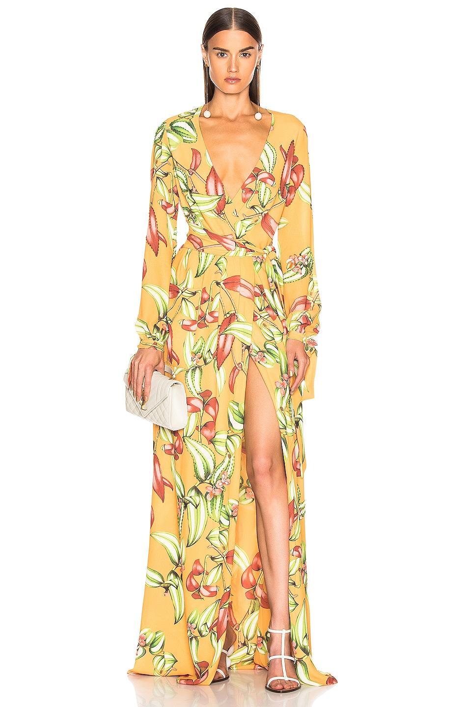 Image 1 of PatBO Zebrina Print Beaded Maxi Wrap Dress in Yellow