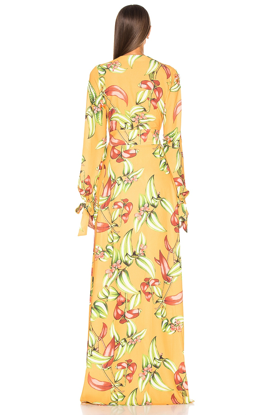 Image 3 of PatBO Zebrina Print Beaded Maxi Wrap Dress in Yellow