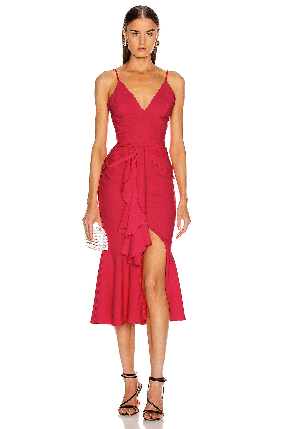 Image 1 of PatBO Bo Ruffle Midi Dress in Deep Pink