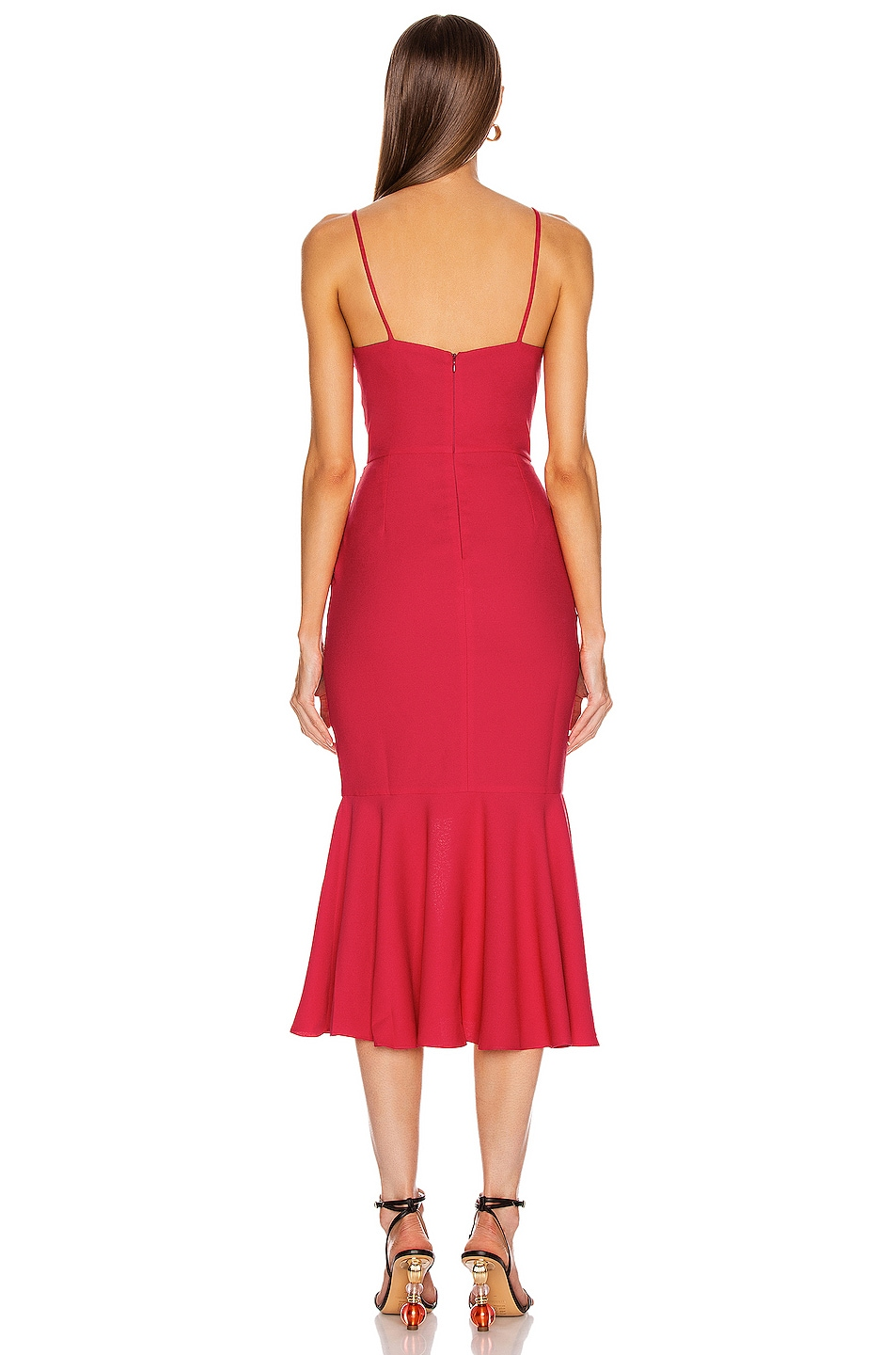 Image 3 of PatBo Bo Ruffle Midi Dress in Deep Pink