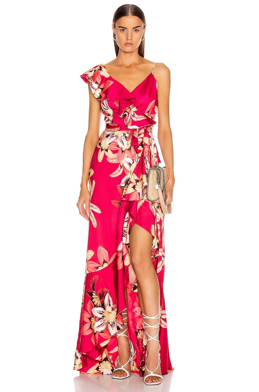 Image 1 of PatBO Floral Carmen Maxi Wrap Dress in Deep Pink