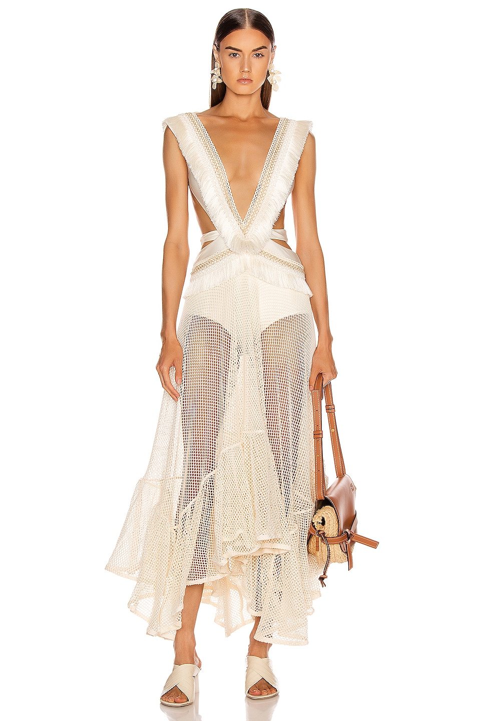 Image 1 of PatBo Fringe and Mesh Cutout Maxi Dress in Wheat