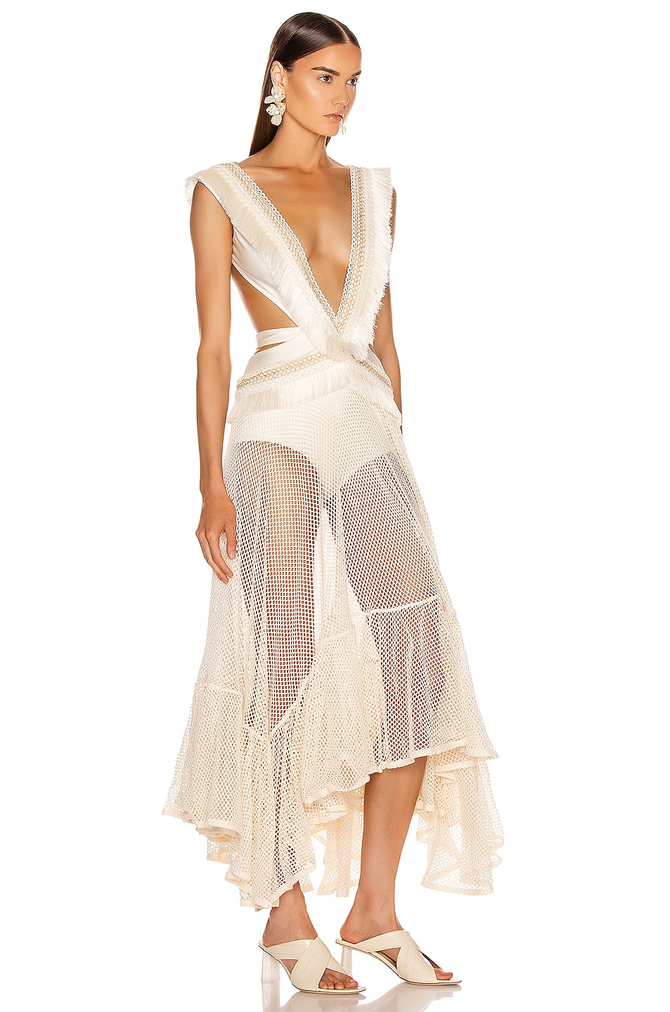 Image 2 of PatBo Fringe and Mesh Cutout Maxi Dress in Wheat