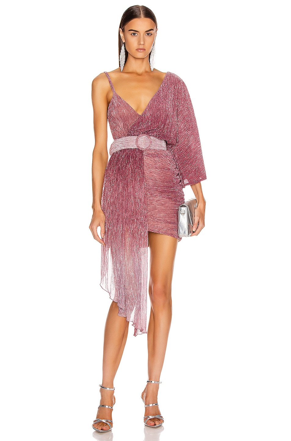 Image 1 of PatBO Ombre Lurex Asymmetric Belted Mini Dress in Light Orchid
