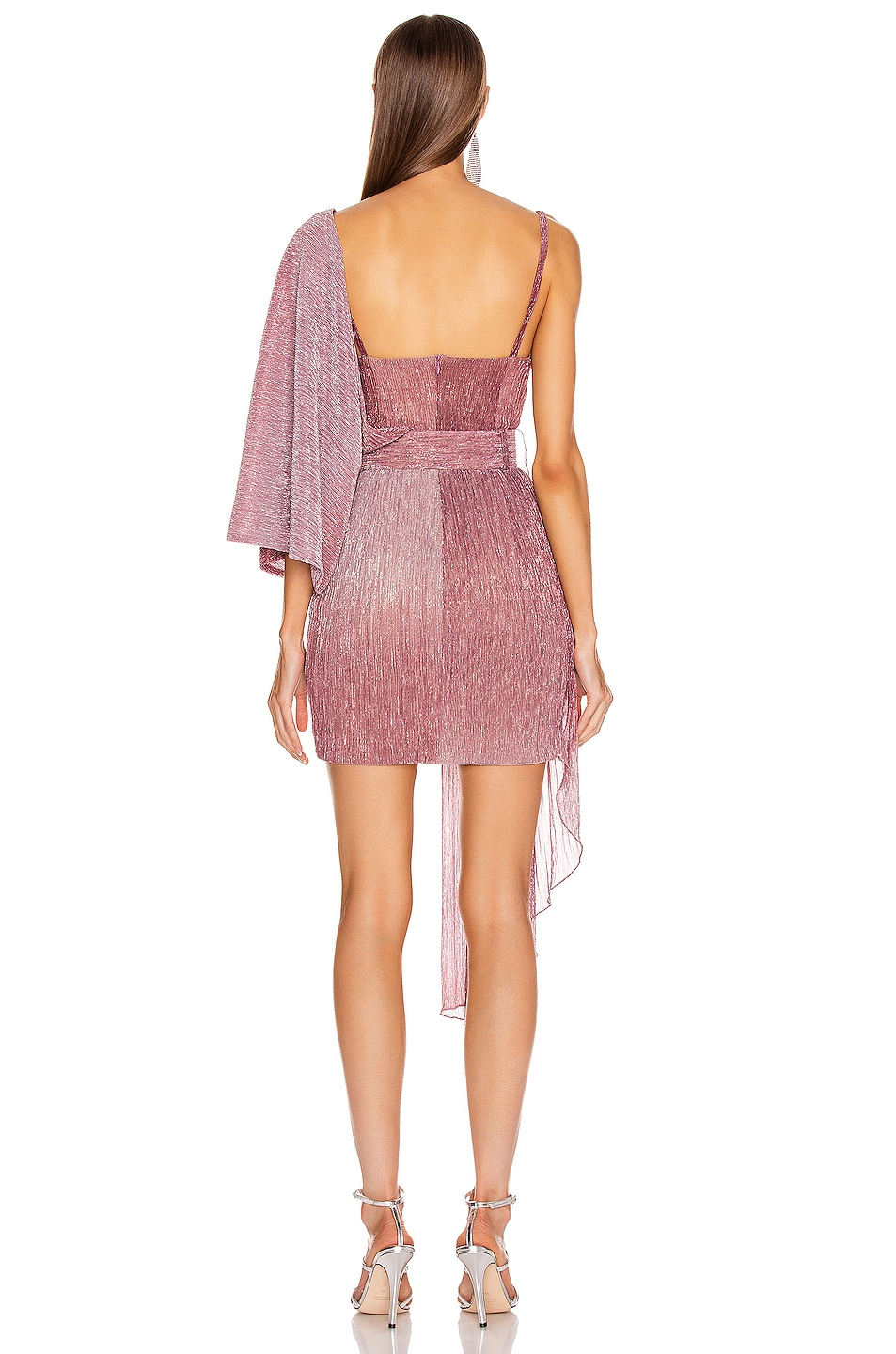Image 4 of PatBO Ombre Lurex Asymmetric Belted Mini Dress in Light Orchid