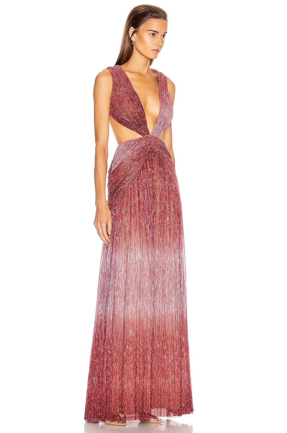 Image 2 of PatBO Ombre Lurex Sleeveless Cutout Gown in Light Orchid