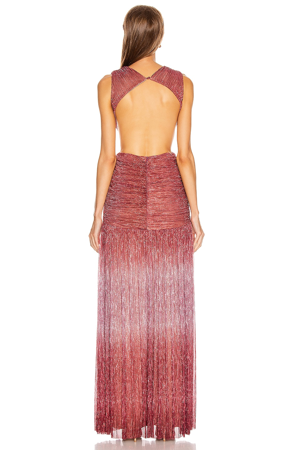 Image 3 of PatBO Ombre Lurex Sleeveless Cutout Gown in Light Orchid