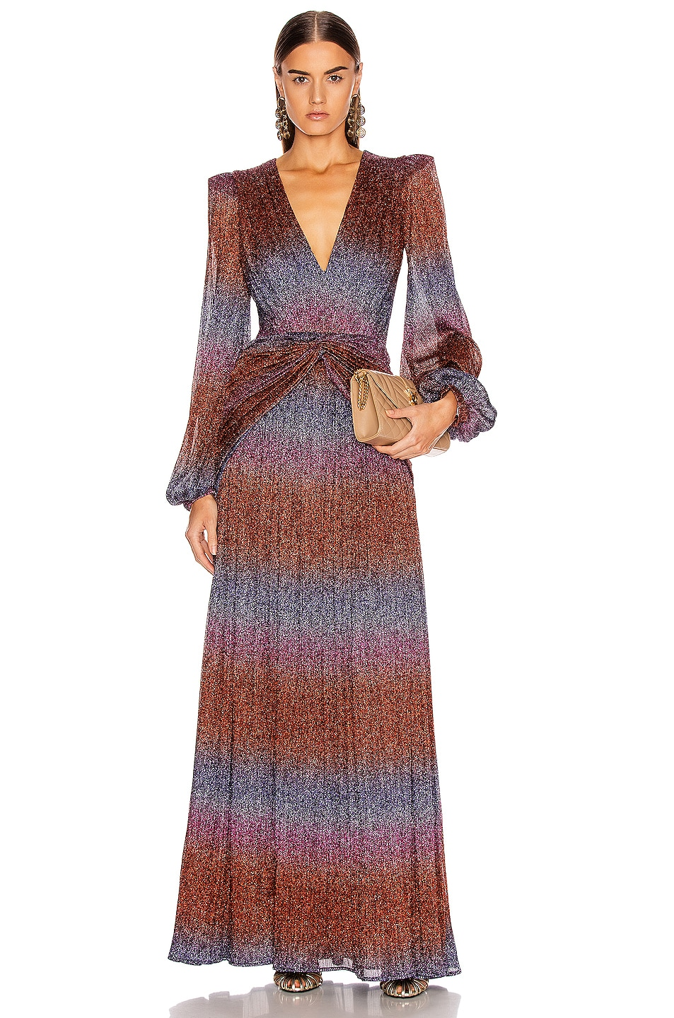 Image 1 of PatBO Rainbow Lurex Long Sleeve Gown in Multi
