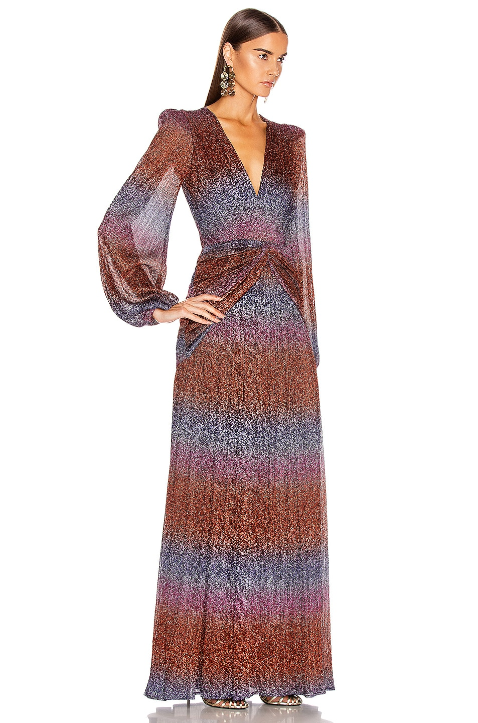 Image 2 of PatBO Rainbow Lurex Long Sleeve Gown in Multi