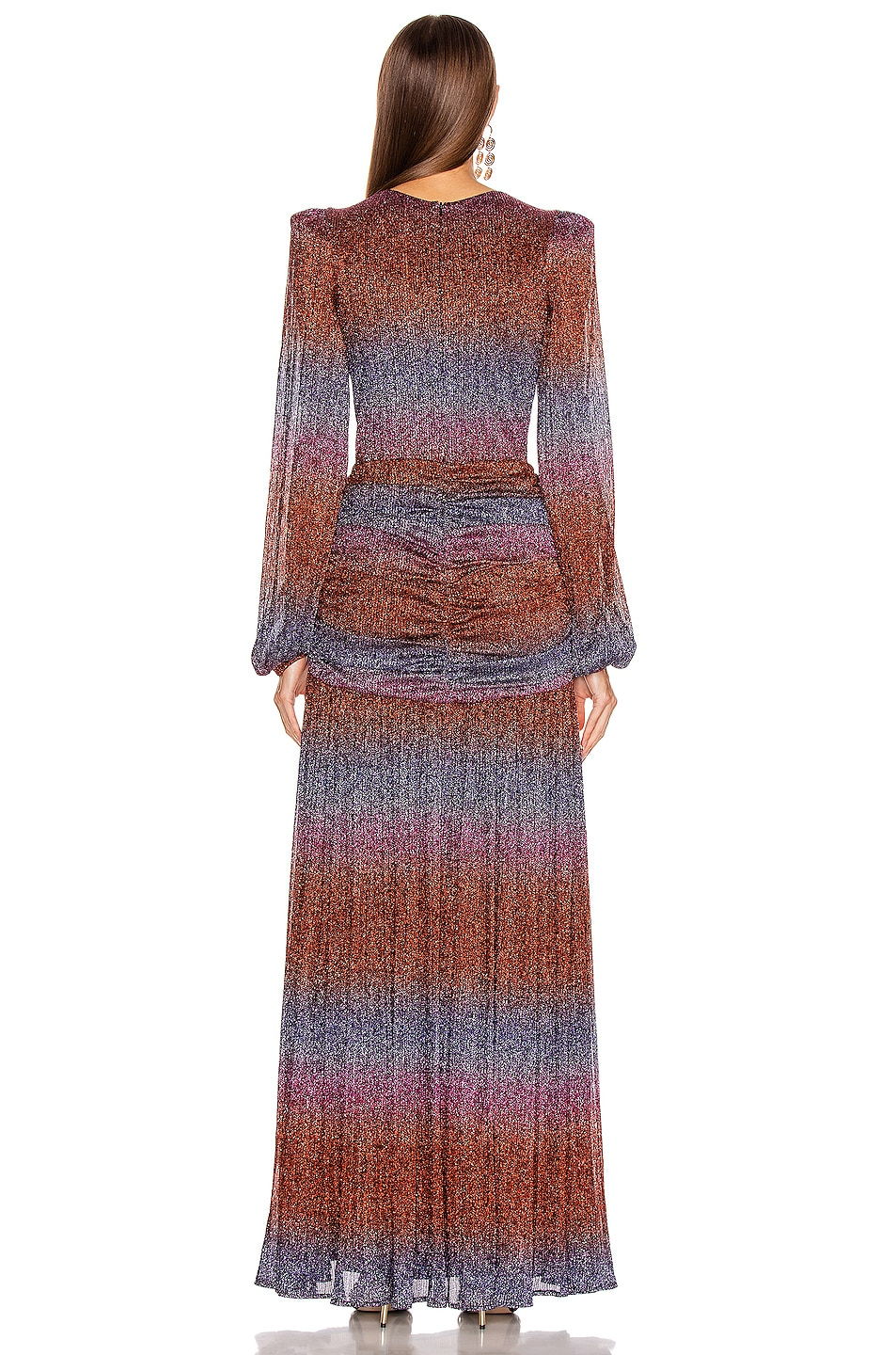 Image 3 of PatBO Rainbow Lurex Long Sleeve Gown in Multi