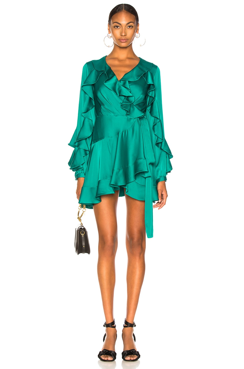 Image 1 of PatBo Ruffle Mini Wrap Dress in Teal