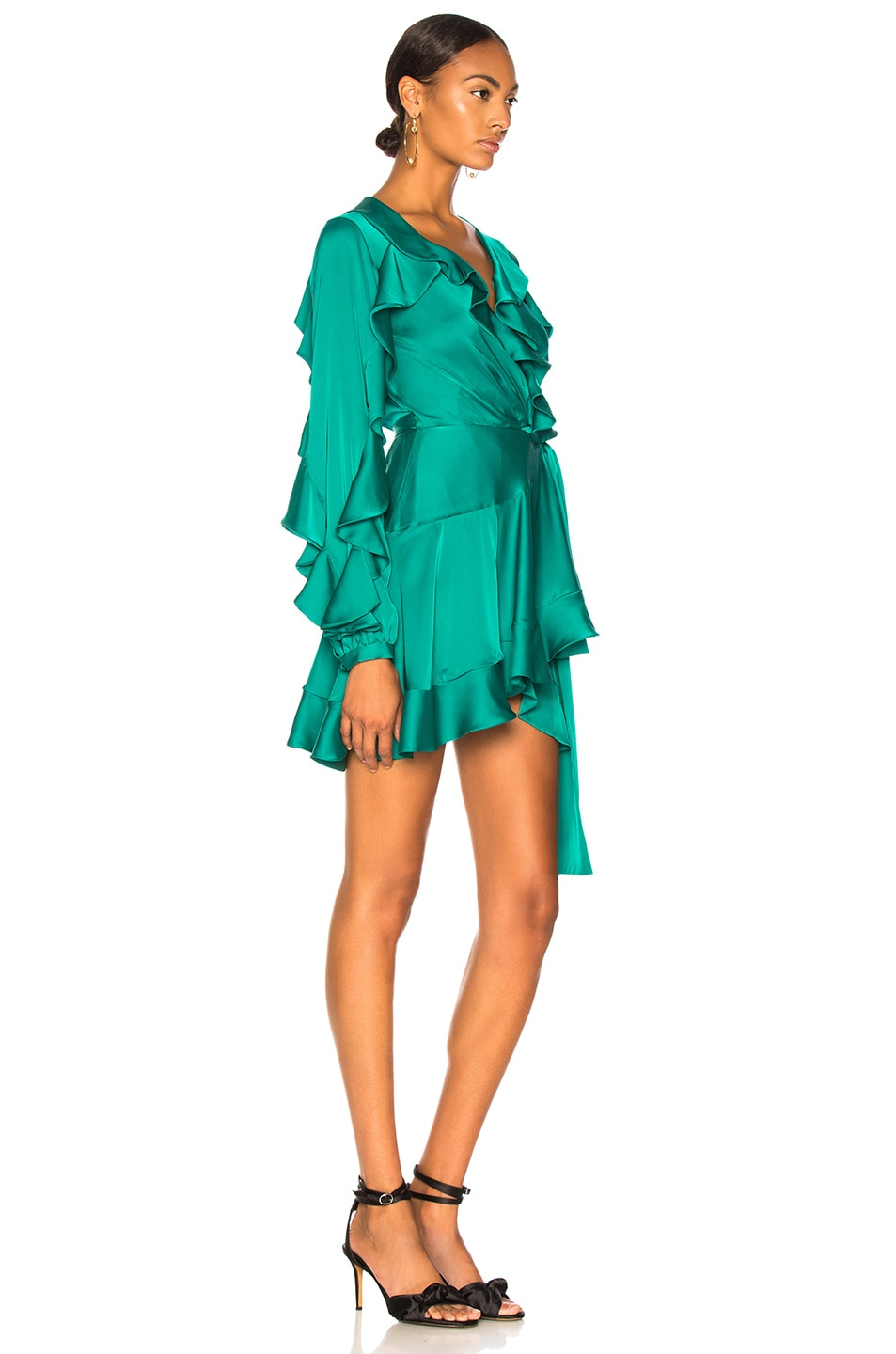 Image 2 of PatBo Ruffle Mini Wrap Dress in Teal