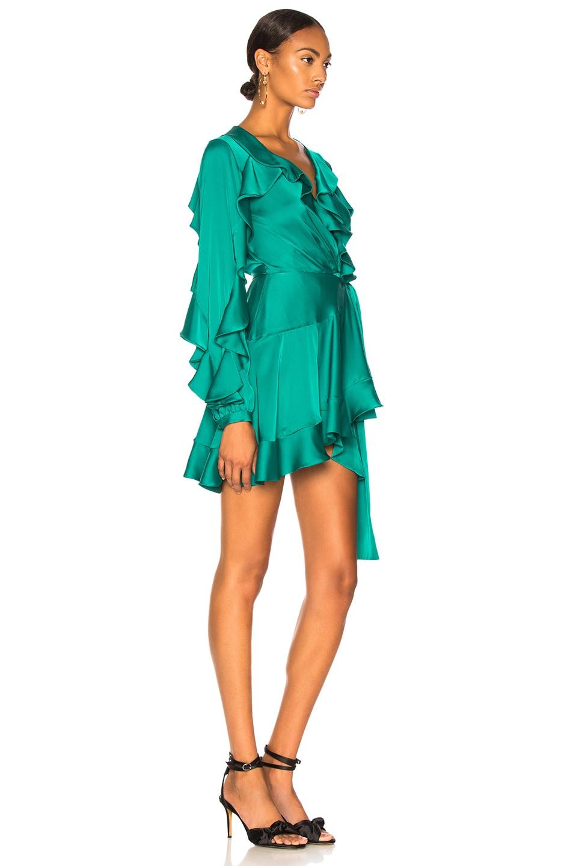 Image 2 of PatBO Ruffle Mini Wrap Dress in Teal