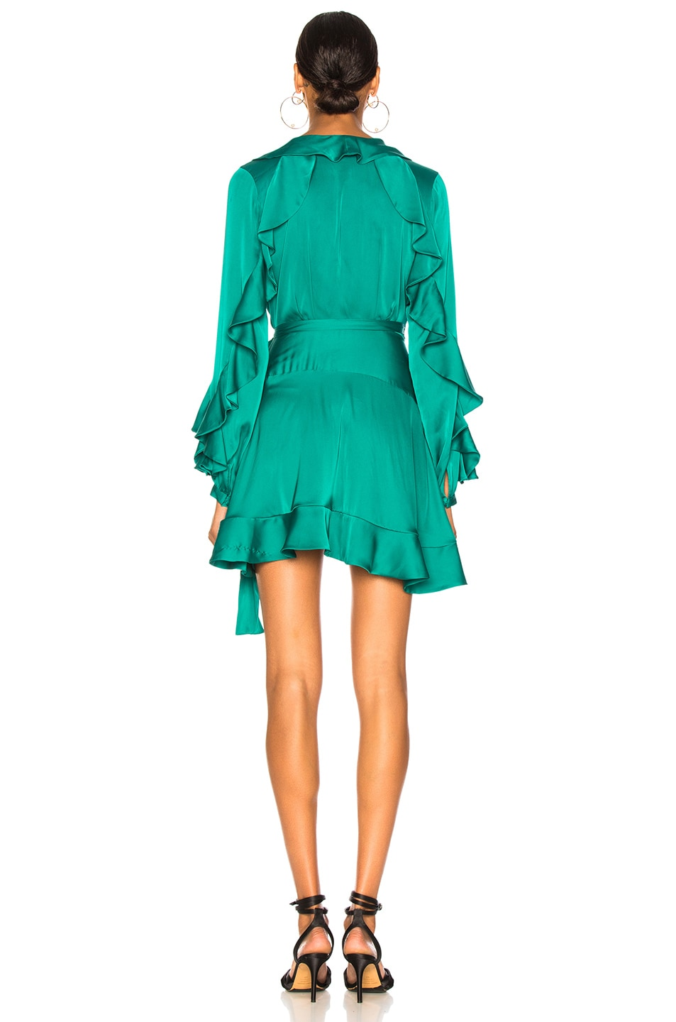Image 4 of PatBO Ruffle Mini Wrap Dress in Teal