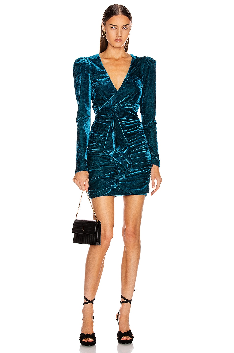 Image 1 of PatBo Velvet Ruched Mini Dress in Azure