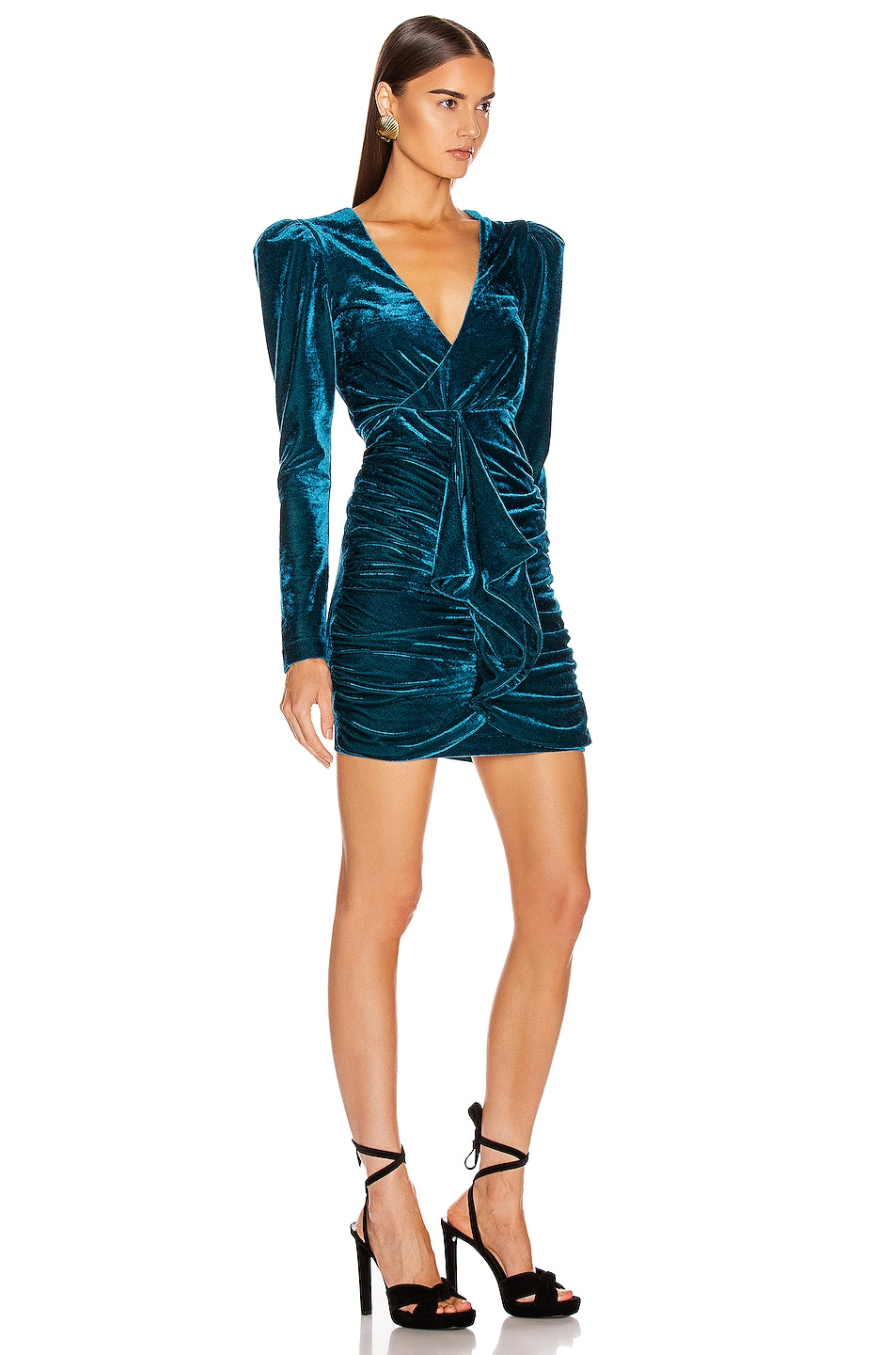 Image 2 of PatBo Velvet Ruched Mini Dress in Azure