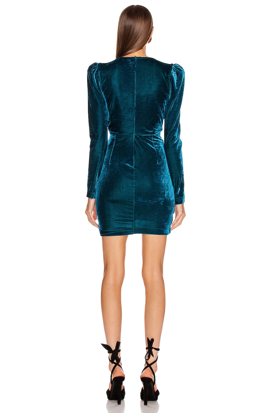 Image 3 of PatBO Velvet Ruched Mini Dress in Azure