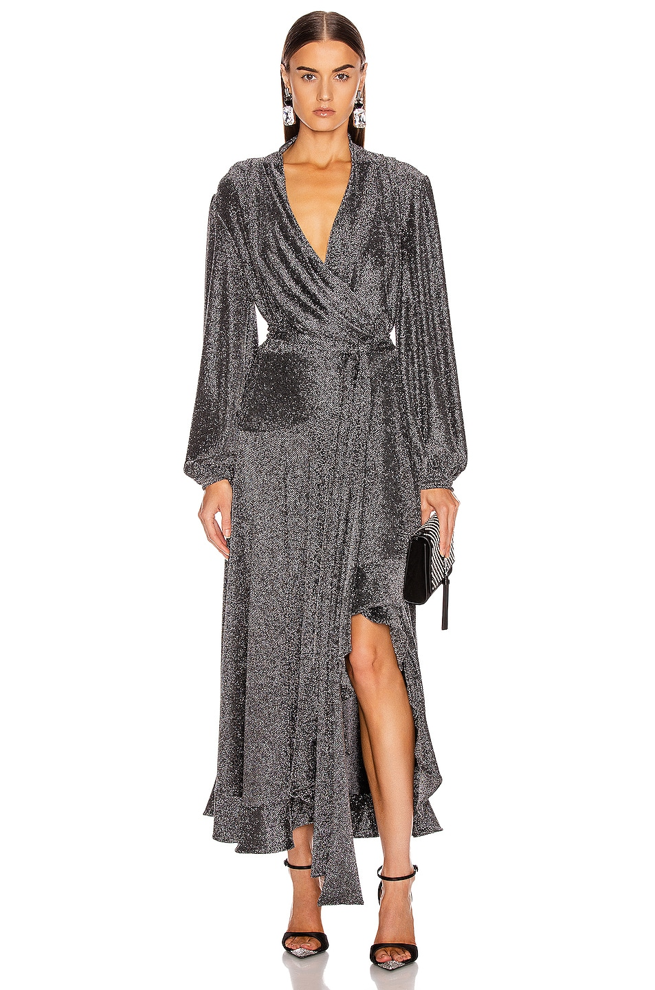 Image 1 of PatBO Metallic Mesh Hi Low Wrap Dress in Pewter