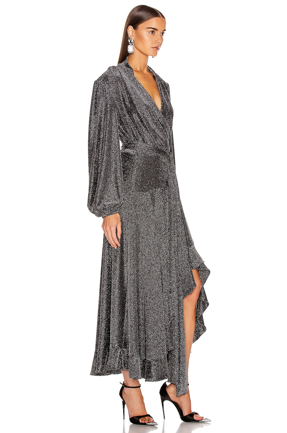 Image 2 of PatBO Metallic Mesh Hi Low Wrap Dress in Pewter