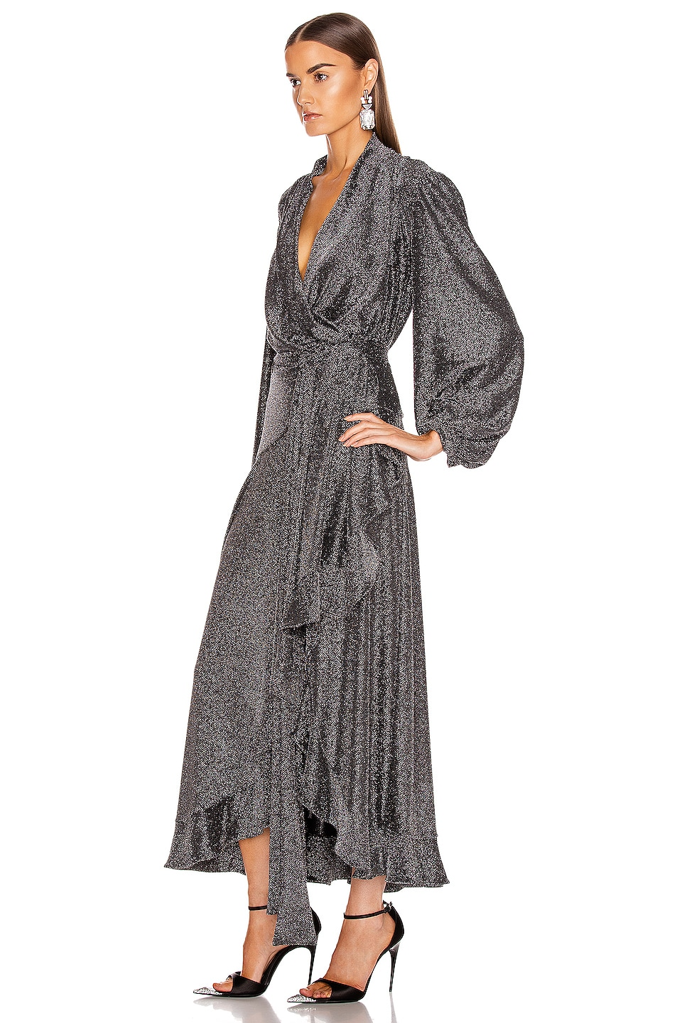 Image 3 of PatBO Metallic Mesh Hi Low Wrap Dress in Pewter