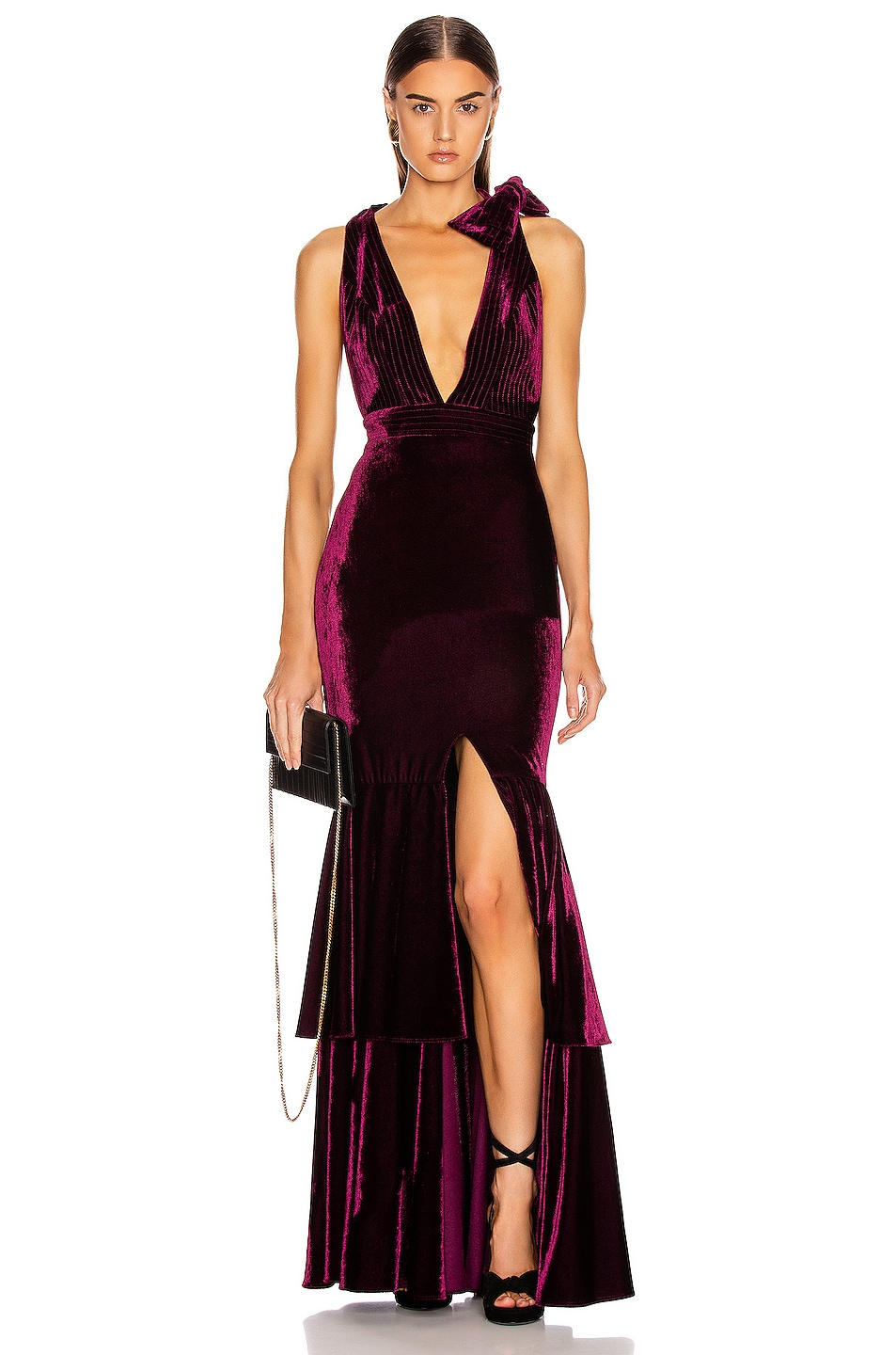 Image 1 of PatBO Velvet Plunge Gown in Bordeaux