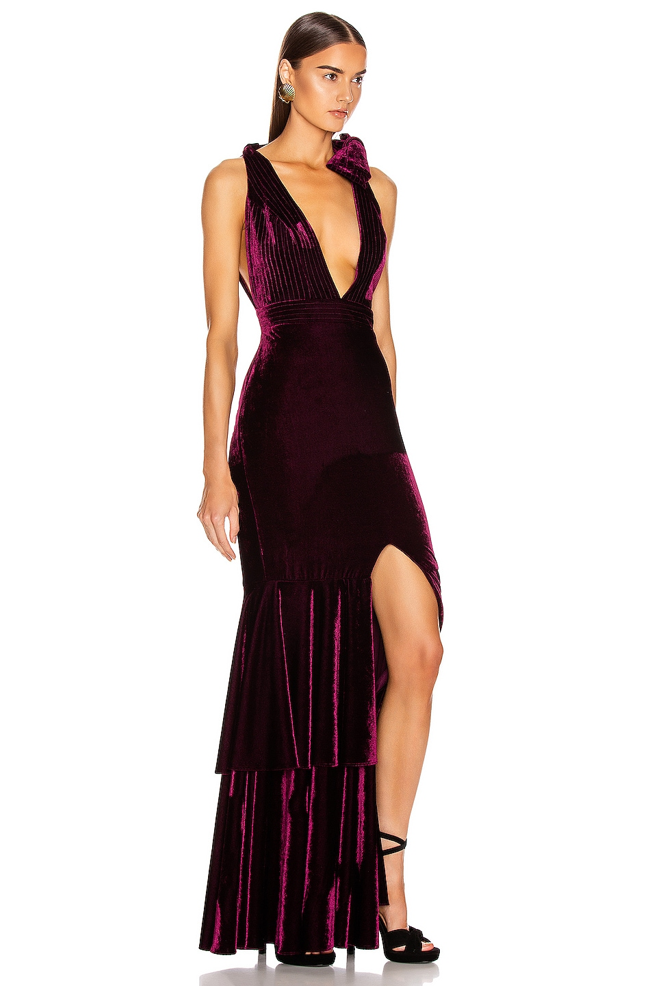 Image 3 of PatBo Velvet Plunge Gown in Bordeaux