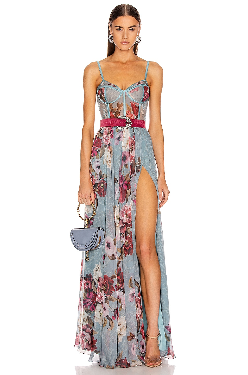 Image 1 of PatBO Peony Print Bustier Maxi Dress With Belt in Soft Blue
