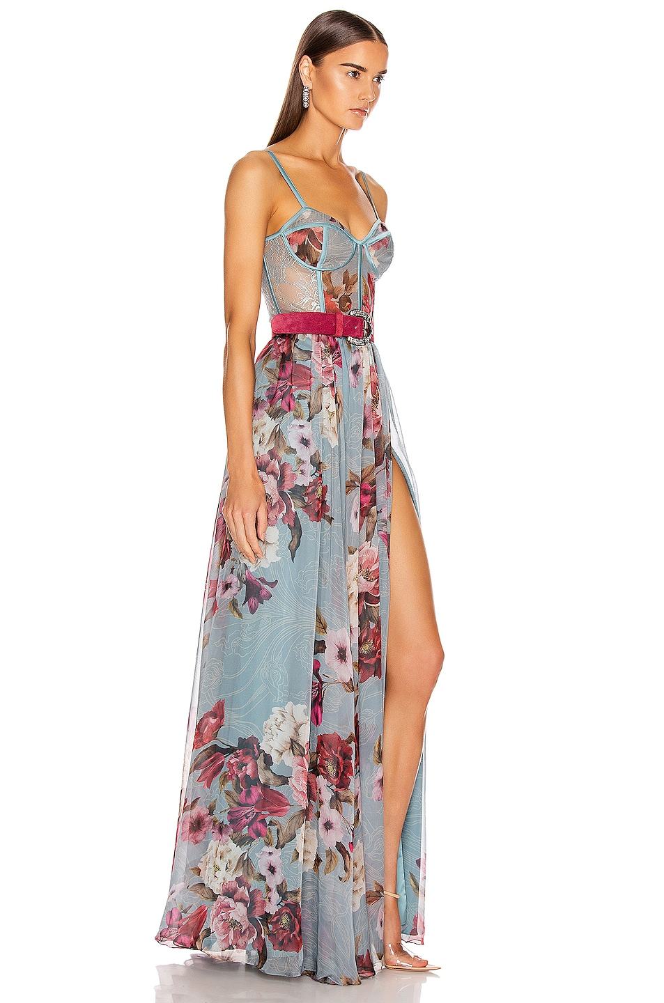 Image 3 of PatBO Peony Print Bustier Maxi Dress With Belt in Soft Blue